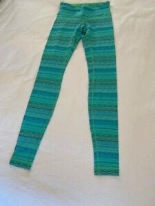 Lululemon legging women's size 4 green/blue/black striped leggings