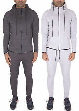 Mens Skinny Fit Panel Tracksuit Hooded Jogging Joggers Full Set Hoodie Bottoms