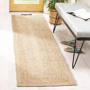 Rug 100% Natural Jute Braided style reversible handmade rug modern living carpet