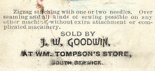1880's SOUTH BERWICK, MAINE TRADE CARD, J W GOODWIN, MT WM TOMPSON'S STORE  K601