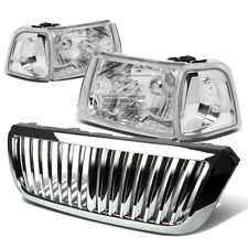 FOR 04-05 FORD RANGER CHROME HEADLIGHT+CLEAR CORNER LIGHT+FRONT GRILLE COVER