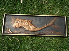 A  VINTAGE RETRO 1967 EMBOSSED COPPER PANEL DEPICTING A FISH SIGNED BY  R. DENT