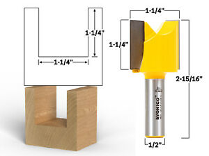 """1-1/4"""" X 1-1/4"""" Straight Router Bit - 1/2"""" Shank - Yonico 14033"""