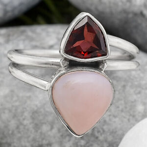 Pink Opal - Australia and Garnet 925 Sterling Silver Ring s.7.5 Jewelry 2899
