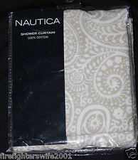 nautica la plata paisley fabric shower curtain 72x72 cotton beige white nwd