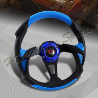Universal 320MM Type-B Black/Blue PVC Leather 6 Hole Racing Steering Wheel