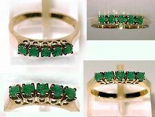 Eleganter Ring mit 5 grasgrünen Smaragden in stilvollen Fassungen , Gold 585