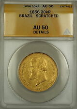 1856 Brazil 20,000 Reis Gold Coin ANACS AU-50 Details Scratched