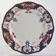 "ANTIQUE ROYAL CROWN DERBY IMARI KINGS BORDER 3615 - 8"" SCALLOPED PLATE C. 1901"