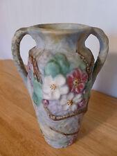 "Weller Matte Pastel-Glazed Silvertone Double handle Dogwood 9.5"" Vase"