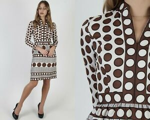 Vtg 70s Brown Polka Dot Dress Ivory Plaid Split Neck Pockets Pencil Skirt Mini