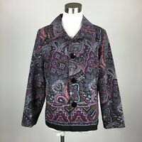 Notations Petite PL Light Jacket 3 Button Paisley 1/2 Lined Collared Stretch
