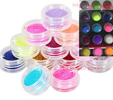 SET 15 BRILLANTINI GLITTER DECORAZIONE UNGHIE NAIL ART STAR COLORATE POLVERI GEL
