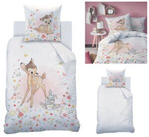 Kinder Bettwäsche Disney Bambi 135x200 Baumwolle Mädchenbettwäsche Waldtiere Reh