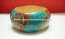 Flower Poly Coated Wide Wooden Bracelet Wood Bangles Costume Jewelry