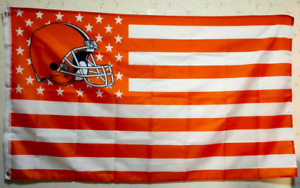 Cleveland Browns With Modified Us Flag 3X5 FT NFL Banner Polyester