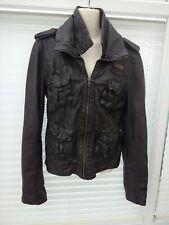 Superdry, Leather Megan Flag Jacket Size 10.