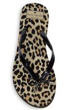 Kate Spade NY Nova Black Shiny Leopard Print Rubber Flip Flop, 7,8,9,10
