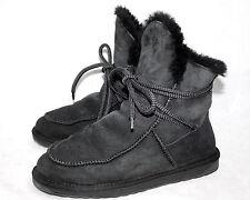 EMU AUSTRALIA Coryline Lace Boot Wo's 7 Black Suede Sheepskin W11142