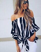 Women's Striped Off Shoulder Bell Sleeve Shirt Tie Knot Casual Blouses Tops S-XL