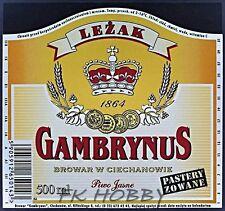 Poland Brewery Ciechanów Gambrynus Leżak Beer Label Bieretikett Cerveza ci75.1