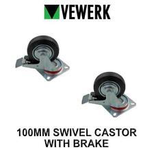 VEWERK Industrial 100MM Swivel Castor Wheel With Brake Rubber Wheel X 2 9093