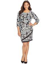 INC International Concepts Tribal Sunrise 3/4 Faux Wrap Dress NWT Plus size 1X