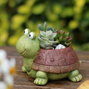 Turtle Shaped Garden Plant Bed Herb Cacti Succulent Bonsai Resin Pot Case