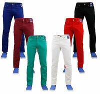 Mens Chino Jeans Straight Leg Stretch Twill Slim Fit Cotton Casual Pants Trouser
