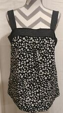 Ann Taylor Loft top size 10 black and white polka dot with contrasting straps