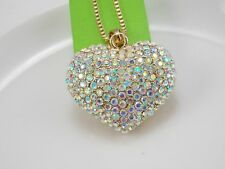 Betsey Johnson AB Crystal heart Pendant Necklace Sweater chain gift DR