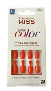 Kiss SALON COLOR Glue On PETITE Vivid Color Length Bright Red Nails 65510