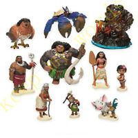 10 Pcs Moana Figure Cake Topper Maui/Tamatoa/Sina/Chief Tui/Gramma Tala PVC Toy