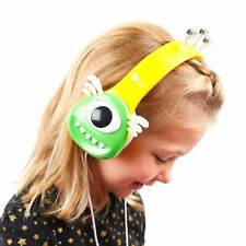 Kids Yellow and Green Monster Headphones  For NEW Sony Walkman NWA26 MP3 Player