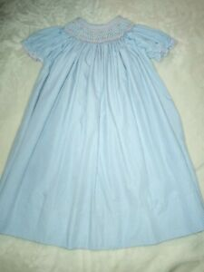 Little Girls Blue and White Sport Smocked Dress 5 Flowers Bishop