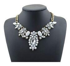 """Collier plastron """"blanc & cristal"""" (ras de cou fashion necklace neon)"""