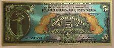 PANAMA 5 BALBOAS 1941 Superb silver plated polymer banknote