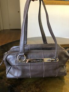 CHANEL Chocolate Bar Square Stitch SMALL Boston Black Caviar Leather Bag Handbag