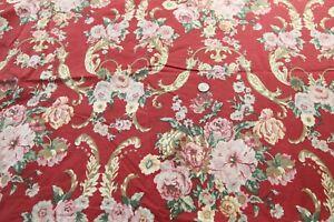 MODIFIED Ralph Lauren Marseilles Danielle Full Flat Sheet Red Floral Rose Scroll