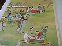 Japanese Asian Scroll Painting on Silk Geisha Wall hanging Signed Large Vintage