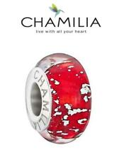 Genuine CHAMILIA 925 sterling silver BE MERRY RED Christmas Murano charm bead