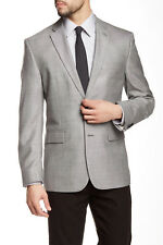 Vince Camuto Gray Sharkskin Two Button Notch Lapel Blazer, Modern fit, 42R, $350