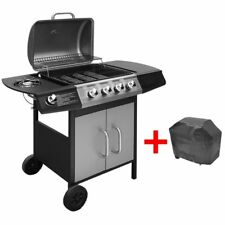 vidaXL Gas Barbecue Grill 4 1 Burners Black and Silver Outdoor BBQ Cooking