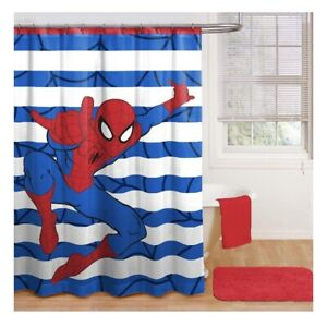Spiderman Fabric Shower Curtain 72 in L X 72 in W Polyester Kids Bathroom Child