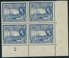 British Guiana 1954-63 8c De La Rue Plate 2 Block of 4 Unmounted mint