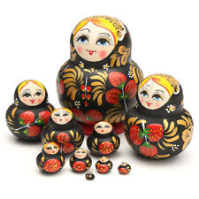 10 in 1 Hand Painted Wooden Matryoshka Nesting Toys Russian Stacking Dolls