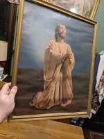 Antique ART DECO Gold Wood Picture Frame Jesus Christ Print Rare Mt Olive