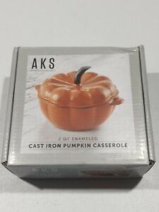 Artisanal Kitchen 2 qt. Enameled Cast Iron Pumpkin Dutch Oven - Orange - GallyHo