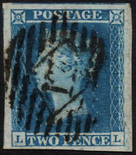 SG14 2d. Blue plate 3, LL. Massive margins. London 17 numeral. E2517