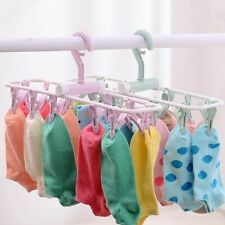 Plastic Folding Clothes Drying Rack Laundry Underwear Socks 12 Clips Accessories